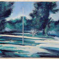 Stab im Wald, Acryl, Graphit, Aquarell, auf Leinwand, 20 x 25 cm